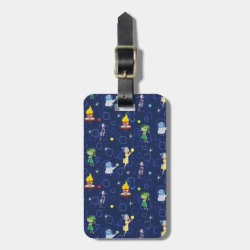 Small Luggage Tag with leather strap with Cute Pattern from Pixar's Inside Out design