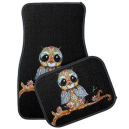 Whimsical Patterned Owl Car Mats Full Set