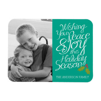 Whimsical Peace and Joy Holly Berry Holiday Photo Rectangular Photo Magnet
