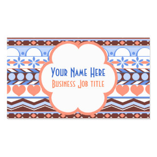 Whimsical peach and blue striped aztec pattern business card template