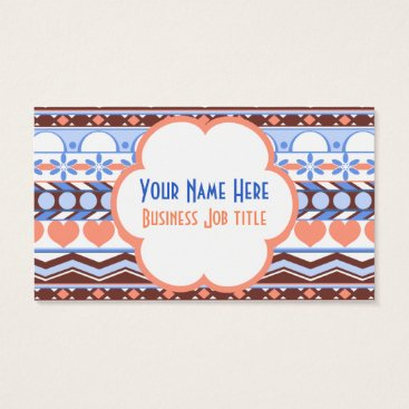 Aztec Themed Whimsical peach and blue striped aztec pattern business card