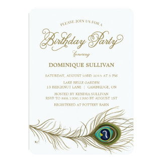 Whimsical Peacock Feather Birthday Invitation
