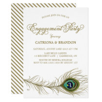 Whimsical Peacock Feather Engagement Invitation
