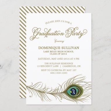 Whimsical Peacock Feather Graduation Invitation