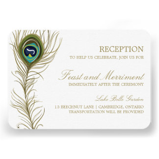 Whimsical Peacock Feather Reception Card