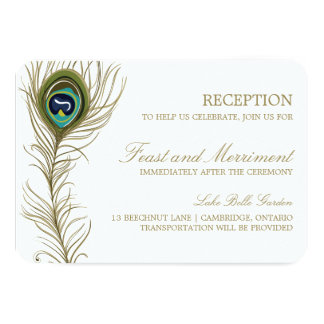 Whimsical Peacock Feather Reception Card Announcements