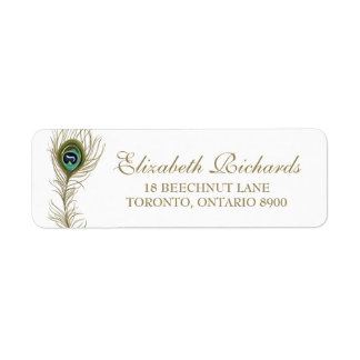 Whimsical Peacock Feather Return Address Label