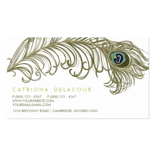 Whimsical Peacock Feather Stylish Business Card (back side)
