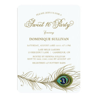 Whimsical Peacock Feather Sweet 16 Invitation