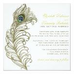 "Whimsical Peacock Feather Wedding Invitation 5.25"" Square Invitation Card"