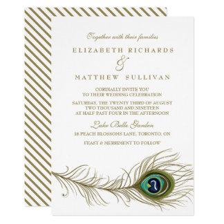 Whimsical Peacock Feather Wedding Invitation II
