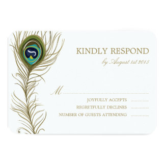 Whimsical Peacock Feather Wedding RSVP Card Personalized Announcements