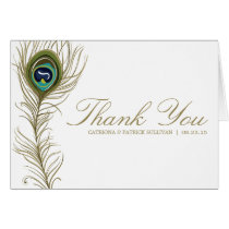 Whimsical Peacock Feather Wedding Thank You Card