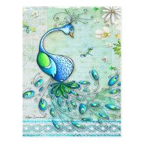 Whimsical Peacock Postcard