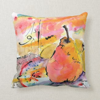 Whimsical Pears Art Watercolor Painting by Ginette Throw Pillows