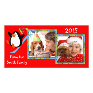 Whimsical Penguin 2 Photo Holiday Cards