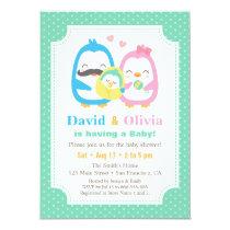 Whimsical Penguin Family Baby Shower Invitations