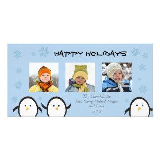 Whimsical Penguins Holiday Photocard (blue) Photo Card