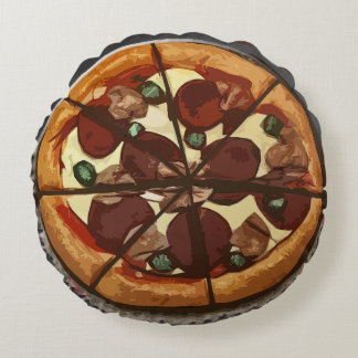 Whimsical Pepperoni Pizza Round Pillow