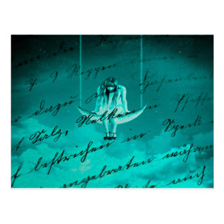 """Whimsical Photoart """"Hanging on Every Word"""" Postcard"""