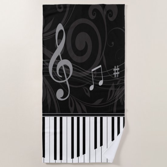 Whimsical Piano and Musical Notes Beach Towel
