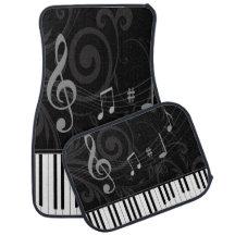 Whimsical Piano and Musical Notes Car Mat