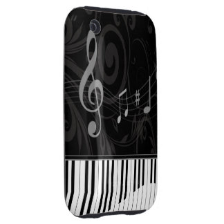 Whimsical Piano and Musical Notes iPhone 3 Tough Case