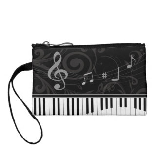 Whimsical Piano and Musical Notes Change Purse