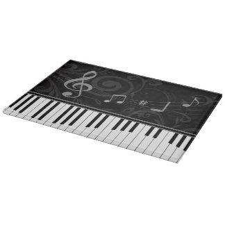Whimsical Piano and Musical Notes Cutting Board