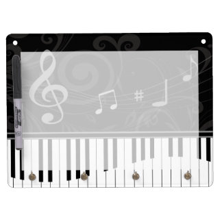 Whimsical Piano and musical notes Dry Erase Board With Keychain Holder
