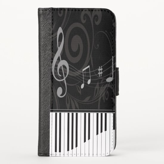 Whimsical Piano and Musical Notes iPhone XS Wallet Case