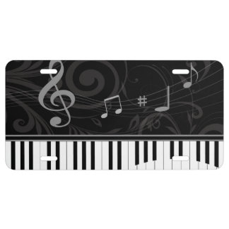 Whimsical Piano and Musical Notes License Plate