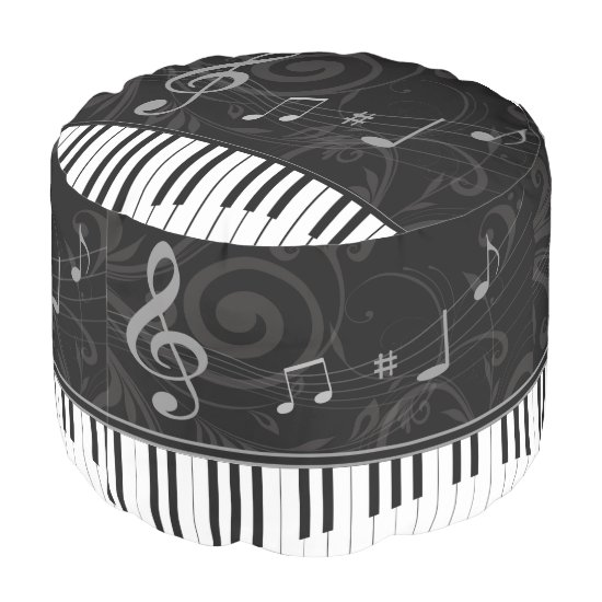 Whimsical Piano and Musical Notes Pouf