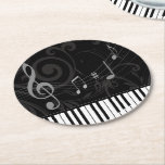 """Whimsical Piano and Musical Notes Round Paper Coaster<br><div class=""""desc"""">A whimsical musical design with curved piano keyboard keys and musical notes on a subtle flourish pattern in gray on a black background. Ideal for the pianist, piano student or the piano lover. We welcome custom requests for other color combinations, just use the contact us via our GiftsBonanza store with...</div>"""