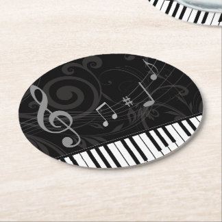 Whimsical Piano and Musical Notes Round Paper Coaster
