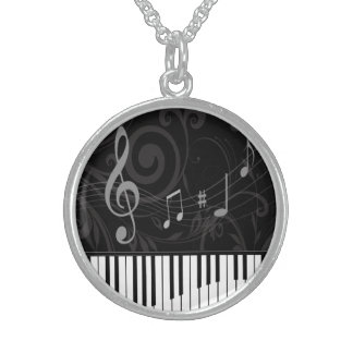 Whimsical Piano and Musical Notes Sterling Silver Necklace