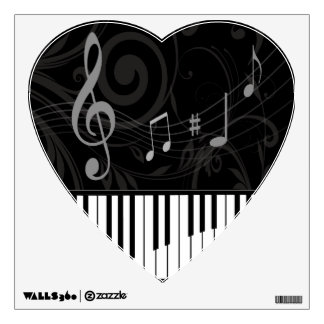 Whimsical Piano and Musical Notes Wall Sticker