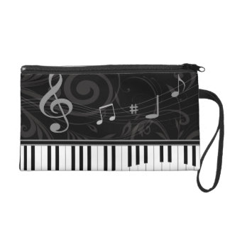 Whimsical Piano and Musical Notes Wristlet