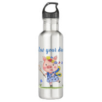 Whimsical Piglet//Follow Your Dreams Stainless Steel Water Bottle