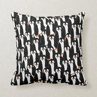 Whimsical Piles of Penguins Throw Pillow