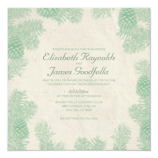 Whimsical Pine Cone Wedding Invitations