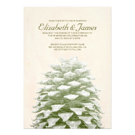 Whimsical Pine Cones Wedding Invitations Announcements