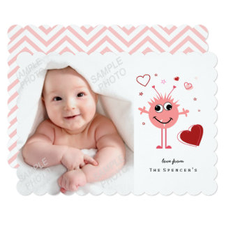Whimsical Pink Alien Monster Valentines Day Photo Card