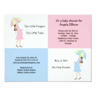 Whimsical Pink And Blue Baby Shower Invitation