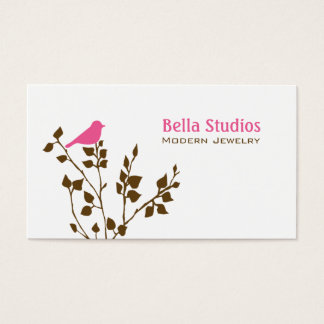 Whimsical Pink and Brown Bird Cute Nature Business Card