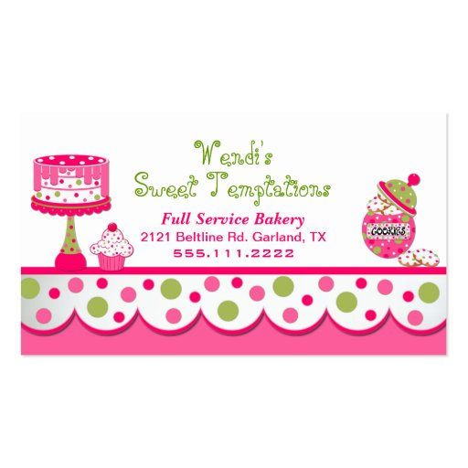 Whimsical Pink and Green Bakery Business Card