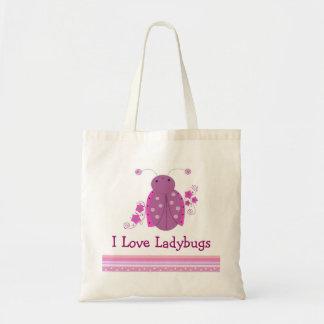 Whimsical Pink and Purple Ladybug Tote Bags