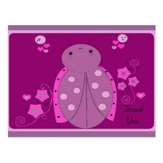Whimsical Pink and Purple Ladybug Thanks Post Card