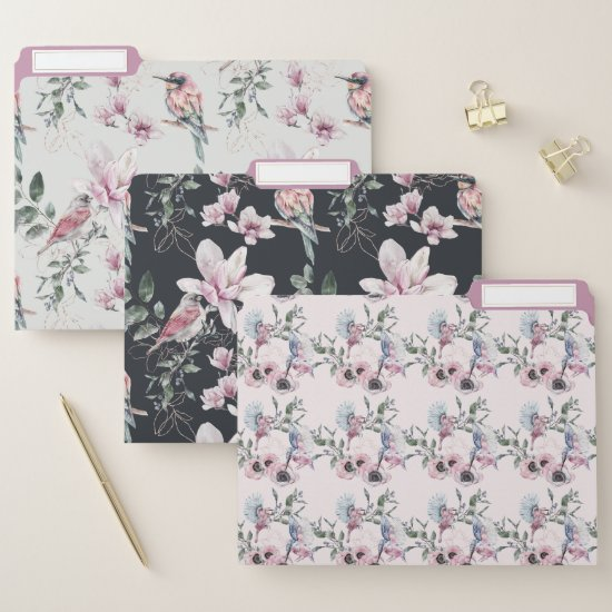 Whimsical Pink Birds and Blooms Floral Watercolor File Folder