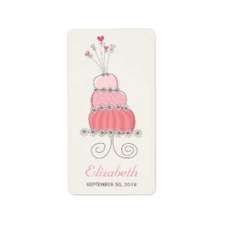 Whimsical Pink Birthday Cake Girl Party Labels